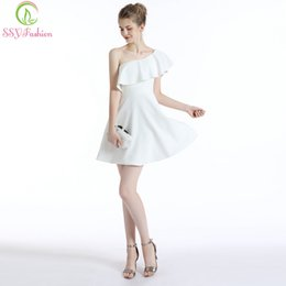 $enCountryForm.capitalKeyWord Australia - wholesale New Simple Cocktail Dress Sexy One Shoulder White Mini Soft Fabric Short Party Formal Gown Custom Made Robe De