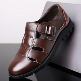 Black Leather Sandals For Men Australia - 2019 Men Sandals Genuine Leather Sandals Men Outdoor Casual Leather For Beach Shoes Roman Shoes Plus Size 38-47