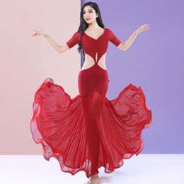 Chinese  2019 New Belly Dance Costume Red&White Indian Jewelry Bellydance Dress For Women Butterfly Wings Oriental Dance Costumes DQS1897 manufacturers