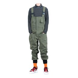 $enCountryForm.capitalKeyWord Australia - Sokotoo Men's pockets cargo joggers bib overalls Loose hip hop elastic waist jumpsuits Coveralls Army green Black