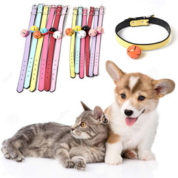 soft leather dog collars 2019 - Soft Leather Pet Dog Adjustable Collar With Bell 4 Size Fashion Leather Dog Cat Collars Puppy Dogs Necklace Pet Collars