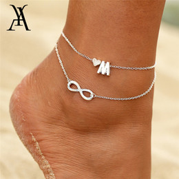 diy name bracelet NZ - Boho Double Layers DIY Name Initial Letter Anklets For Women Silver Color Heart Infinity Ankle Bracelet Foot Jewelry Accessories