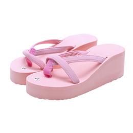 Discount peep toe slipper wedges - Women's Summer New Fashion Slipper Flip Flops Beach Wedge Thick Sole Heeled Shoes Party Beach Peep Toe Sandals Slip