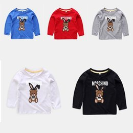 Wholesale Baby Infant Boy Designer Clothes Kids Long Sleeve Polo Shirt Round Neck Cartoon Bear Print Spring Autumn Tops