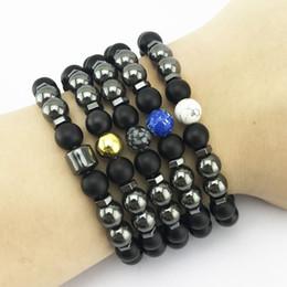 venda por atacado New Owl Head Pulseira Pedra Natural Lava Beads Braceles Energia Mulheres Homens Yoga Charme Jóias Acessórios Pulseira Masculina FY8009