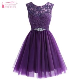 $enCountryForm.capitalKeyWord Australia - A Line Purple Lace Tulle Knee Length Bridesmaid Dresses Junior Sweety Wedding Guest Formal Party Dress Gown