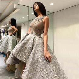 Grey Satin Evening Gown Australia - Grey Sexy Fashion Asymmetrical Tulle Lace Prom Dresses 2019 Embroidery Pearls Sleeveless Formal Evening Gowns Graduation Dresses Guest Dress