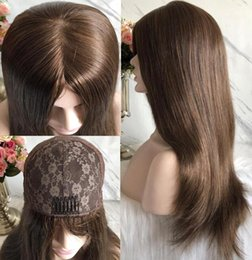long straight dark brown wigs Australia - Kosher Wigs 10A Grade Light Brown Color #6 Finest European Virgin Remy Human Hair Straight 4x4 Silk Base Jewish Wig Fast Free Shipping