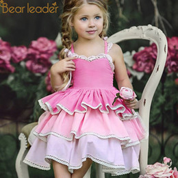 pink baby girls cake dress NZ - Bear Leader Girl Dresses Baby Princess Style Girls Sleeveless Layered For Kids Cake Party Children Clothes J190506