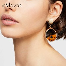 resin crosses for Canada - e-Manco Geometric Semicircle Resin Drop Earring For Women Two Colors Femme Dangle Earring for Friend New Arrival Fashion Jewelry Y200323