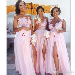 blush lace evening dresses Australia - Cheap Country Blush Pink Bridesmaid Dresses 2019 Sexy Sheer Jewel Neck Lace Appliques Maid Of Honor Dresses Split Formal Evening Gowns Wea