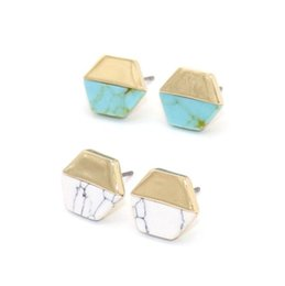 $enCountryForm.capitalKeyWord NZ - Fashion Natural Turquoise Stone Stud Earrings Marble Stone Earrings for Women Jewelry gift High Quality