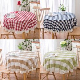 $enCountryForm.capitalKeyWord NZ - Round Tablecloth Thick Plaid Cotton Linen Kitchen Dinner Table Cloth Lace Pastoral Style Simple Coffee Table Nordic Decor Cloth