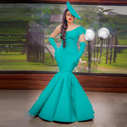 $enCountryForm.capitalKeyWord UK - Turquoise One Shoulder Mermaid Evening Gowns Elegant African Sheath Evening Dresses Black Girl Long Formal Party Pageant Gown