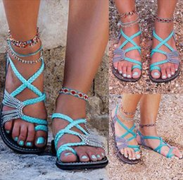 Toe ring sandals online shopping - Designer flip flops Strap Beach Sandals Summer Women Hot Ring toe Cross Braid Boho Flat Shoes Flippers