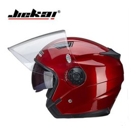 knights helmet NZ - 2019 New Knight safety protection JIEKAI Double lens Motorcycle Helmets Half Face Motorbike Helmet of ABS PC size M L XL XXL