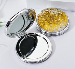 Wholesale New Health Mini Makeup Mirror Compact Pocket Mirror Portable Double-Sided Folding Cosmetic Mirror Female Gifts With flowing sparkling sand