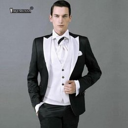 Season Suits NZ - yiwumensa Four seasons Business White With Black Shawl Lapel Wedding Suits For Mens Custom Made 3 Pieces Jacket+Vest+pants 2019
