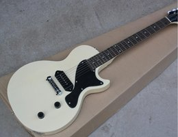 Wholesale Factory Custom Milk White Electric Guitar with P90 Pickup Black Pickguard Chrome Hardwares White Tuners Offer Customized