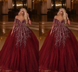 $enCountryForm.capitalKeyWord Australia - 2020 Elegant Off Shoulder Ball Gown Burgundy Arabic Dubai Evening Dress Long Sleeves Elegant Women Plus Size Prom Formal Dresses Abendkleid