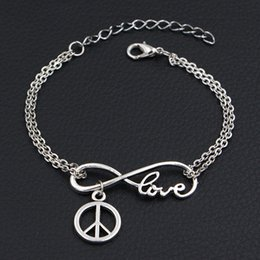 $enCountryForm.capitalKeyWord Australia - Cheap Hot Fashion Double Infinity Love Round Hollow Peace Sign Symbol Pendant Charm Bracelets Vintage Men Women Link Chain Cuff Jewelry Gift