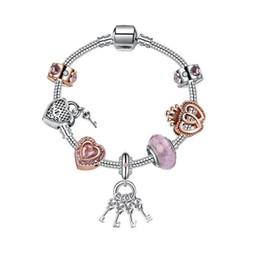 Heart Key Dangle Australia - High Quality Silver Plated Heart Key Dangle Crystal Murano Glass Bead European Charm Bracelet for Girls