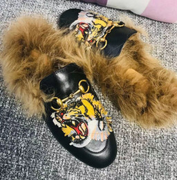 $enCountryForm.capitalKeyWord UK - Lead cat, Rihanna fur, tiger head slippers, ladies' shoes, sandals, fashion cuffs, black slides, high quality boxes, size 35-41.