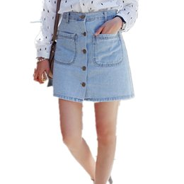ba352671ea Line Denim Skirt Buttons Australia - wholesale Pockets Button Jeans Slim  Womens Denim Skirt Casual Comfortable