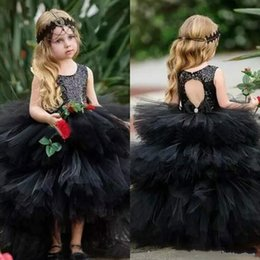 Cute blaCk baby models online shopping - Cute Sequins Flower Girls Dresses Tiered High Low Girls Party Pageant Dress Baby Birthday Gowns Kids Formal Wear First Communion Dress