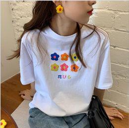 Korean Floral Shirt Wholesale Australia - 2019 Summer Korean Version Loose Leisure Simple Basic Printed Short-sleeved T-shirt T71201