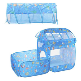 Discount kids cloth play tunnel - 2 in 1 Set Foldable Tent Outdoor Ocean Ball Pool Kids Crawling Tunnel Play Baby Tents Kids Children Tent Game Toys For K