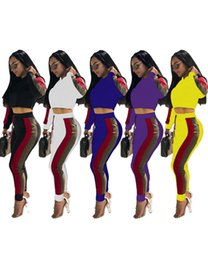 Discount purple yellow tracksuit - Brand Designer women crop top leggings 2 Piece set tracksuit striped letter shirt tights outfits sweat pants sportswear