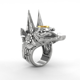 StainleSS Steel wolfS head ring online shopping - Daigou The ancient Egyptian god of death anubis ring shield shield shield broken window cross mustache Wolf head ring bracelet