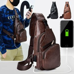 Wholesale Men PU Leather Sling Chest Pack Crossbody Sport Shoulder Bag USB Charging Port