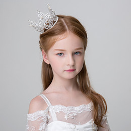 Coronet Hair Australia - Princess Simulated Pearl Rhinestone Crown Tiara Round Coronet for Girls Handmade Headpiece Hair Ornament Teens Headband Hairwear C18112001