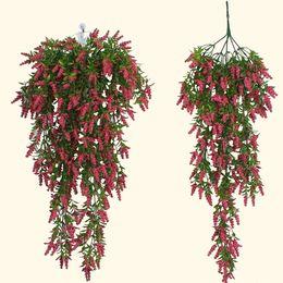 $enCountryForm.capitalKeyWord Australia - Artificial wall hanging fake flower vine DIY wedding living room bunch decor flower basket rattan lavender wall hanging wisteria
