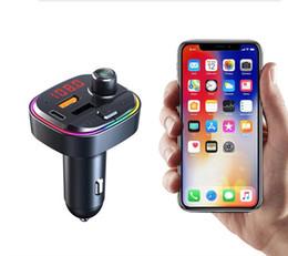 C13 C14 C15 C12 FM Transmitter Wireless Bluetooth 5.0 Handsfree Car MP3 Kit FM Modulator Dual USB type-c PD Charger RGB light on Sale