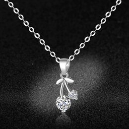 $enCountryForm.capitalKeyWord Australia - Pure 925 silver crystal cherry clavicular chaincreative necklace neck chain pendant for women