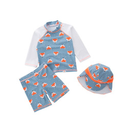 $enCountryForm.capitalKeyWord Australia - Baby Boy Clothes Blue Fox Summer Swimwear O-neck Tops+Shorts+Cap 3pcs Set Swim Suit Spa Bathing Beach Clothing