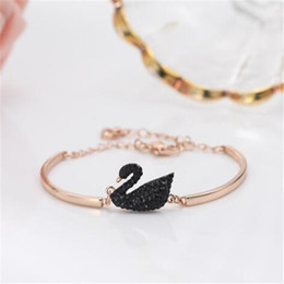 $enCountryForm.capitalKeyWord NZ - Tide Brand Cute Swan Charm Female Bangles Fashion Pearl Ornament Chain Bracelets Christmas Gifts Design Bangles For Girls Jewelry