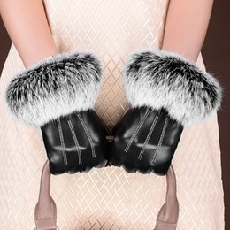 $enCountryForm.capitalKeyWord Australia - Genuine Leather Sheepskin Real Rabbit Fur Women Winter Drive Gloves Female New Thick Warm Plus Velvet Touch Screen Fur Gloves