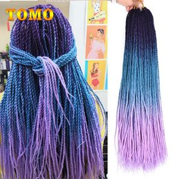 "$enCountryForm.capitalKeyWord Australia - TOMO Senegalese Twist 24"" Long Braiding Hair Extensions Black Blue Purple Green Ombre Micro Synthetic Crochet Pre-Loop Hair 30strands pack"
