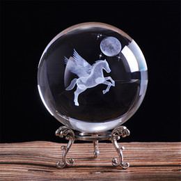 Ball Umbrella Australia - 80mm 3D Laser Engraved Miniature Pegasus Crystal Ball Crystal Field Craft Glass Home Decoration Ornament Birthday Gift