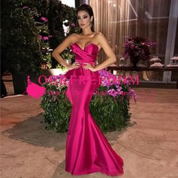 evening dress fuchsia Canada - 2019 Fuchsia Long Mermaid Evening dresses with Peplum Ruched Sweetheart Formal Dresses Zipper Back Prom Gowns Maid of Honor Dress