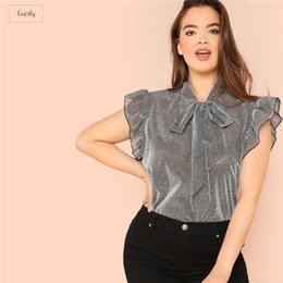 sleeveless tops office NZ - Grey Ruffle Blouses Trim Office Polyester Neck Plus Size Women Thin Summer Polyester Sleeveless Elegant Tie Lady Solid Top Blouse