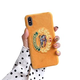 $enCountryForm.capitalKeyWord UK - Designer Luxury Phone Case Fashion Embroidered suede for IPhone X XS Max XR 8 7 6 6s Plus High Quality PU Leather Shell Skin Back Cover