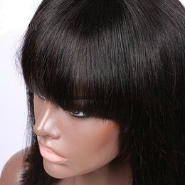 glueless lace wigs for black women Canada - Factory Price Glueless Lace Front Human Hair Bob Wig Full Lace Short Wigs For Black Women Short Wig With Bangs