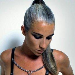 $enCountryForm.capitalKeyWord Australia - Chic Silver grey human hair pony tail hairpiece wrap around Dye free natural hightlight salt and pepper gray hair ponytail 100g-140g choose
