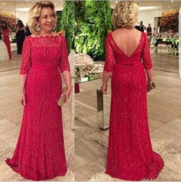 la robe UK - Red Lace Mother Of The Bride Dresses 1 2 Sleeves Lace Applique Mother Dresses La mère des robes de mariée Custom