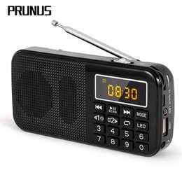 Discount battery alarm clock mp3 PRUNUS Portable Pocket Radio Receiver support dual TF card  AUX Mp3 Mini Radio fm with Alarm Clock emergency LED light 7
